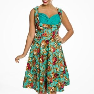 Lindy bop Ophelia teal floral dress